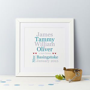 Typographic Personalised New Home Print - family & home