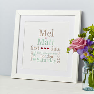 Personalised 'First Date' Typographic Print