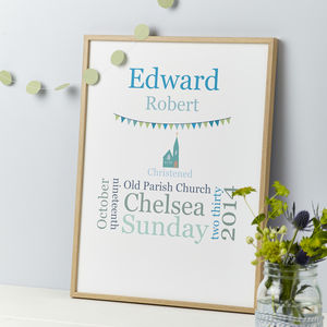 Personalised A3 Illustrated Christening Print - christening gifts