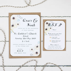 Floral Garden Wedding Invitation And RSVP - wedding stationery