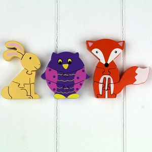 Set Of Wooden Woodland Animal Mini Puzzles