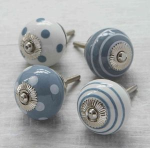 Grey White Ceramic Cupboard Drawer Door Knobs