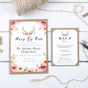 Watercolour Wilderness Wedding Invitation And RSVP - invitations