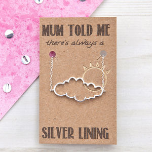 Mum's Silver Lining Cloud Necklace - jewellery sale
