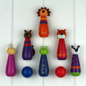Hand Painted Wooden Woodland Animal Skittles - traditional toys & games