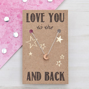 To The Moon And Back Rose Gold Necklace - gifts for her