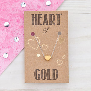Heart Of Gold Sterling Silver Necklace - gifts under £25 for her