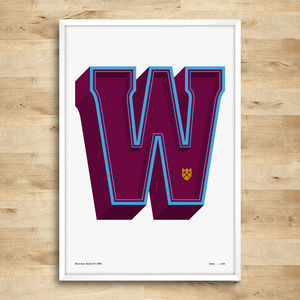 West Ham United Typography Posters, Limited Edition - posters & prints for children