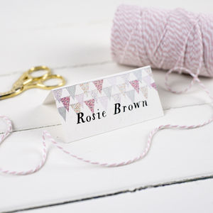 Pale Pink Country Bunting Wedding Place Card - new in wedding styling
