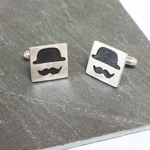 Men's Bowler Hat And Moustache Silver Cufflinks