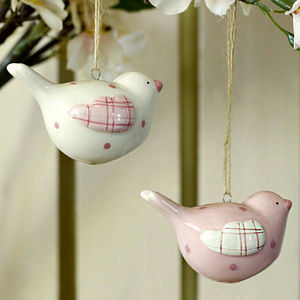 Set Of Two Ceramic Easter Bird Decorations - home accessories