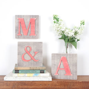 Personalised Wood Block Letters Set Of Three