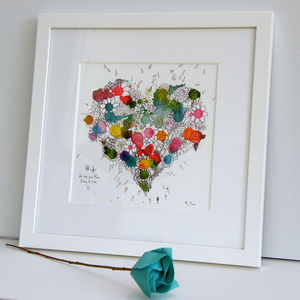Mothers Day Personalised Blooming Heart Print