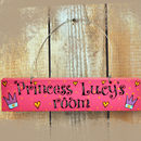 Personalised Princess Wooden Door Sign