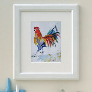 Hippy Chick Chicken Watercolour Print
