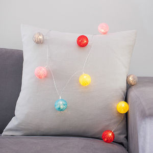 Rainbow Cotton Ball Fairy Lights - fairy lights & string lights