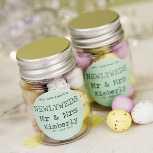 Personalised Wedding Favour Sticker Jar - edible favours
