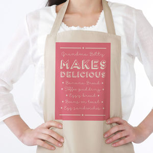 'Makes Delicious' Personalised Apron - kitchen linen