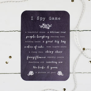 Chalkboard Wedding I Spy Game - table decorations