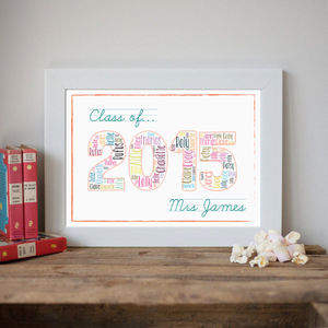 Personalised 'Class Of 2015' Teacher Print - gifts for teachers