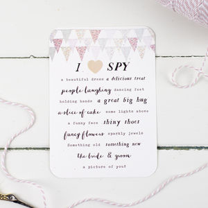 Pastel Bunting Wedding I Spy Game - advice cards & table games