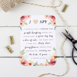 Watercolour Wilderness Wedding I Spy Game - table decorations
