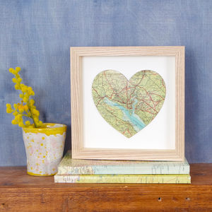 Mini Bespoke Map Heart Artwork