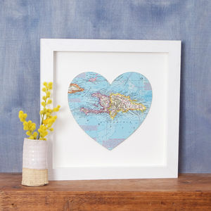 Bespoke Location Map Heart - top 50 personalised prints