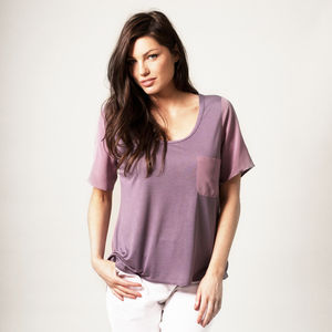 Lilac Silk And Jersey Top - women's fashion