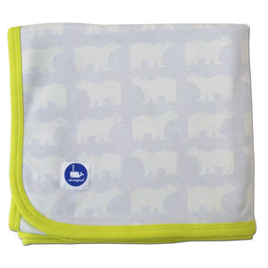 'Polar Bear' Baby Blanket In Organic Cotton