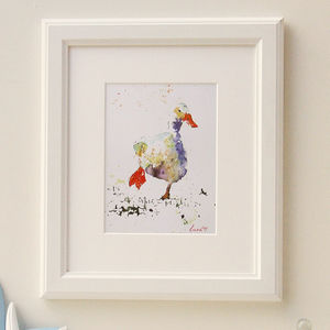 Dawdling Duck Watercolour Print - contemporary art