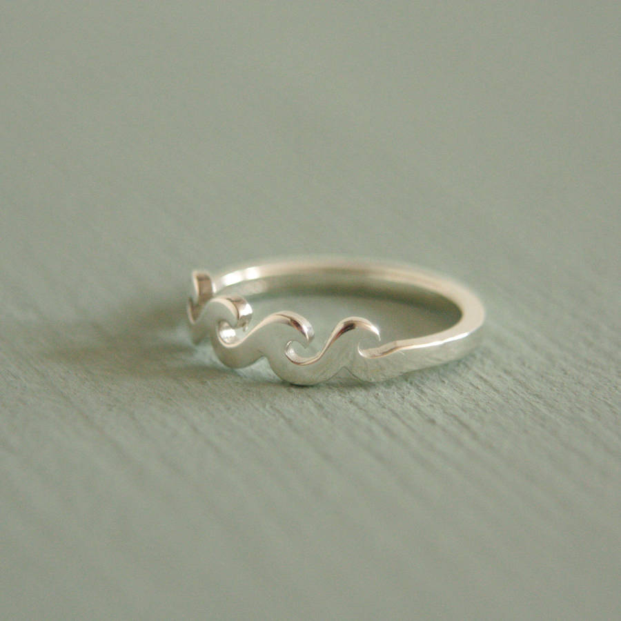 wave ring handmade sterling silver by rock cakes