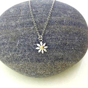 Silver And Yellow Gold Daisy Necklace - necklaces & pendants