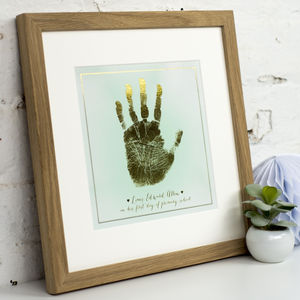 Personalised Child's Gold Foil Handprint Mounted Print - mixed media pictures for children