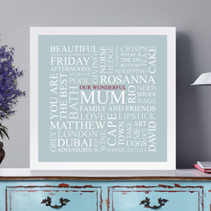 Personalised 'Mum's Favourites' Square Print - children's room