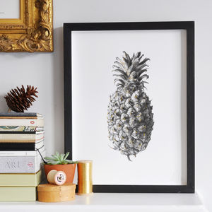 Monochrome Botanical Glitter Pineapple Print - still life