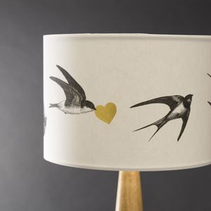 Airmai! Swallows Hand Gilded Lampshade - living room