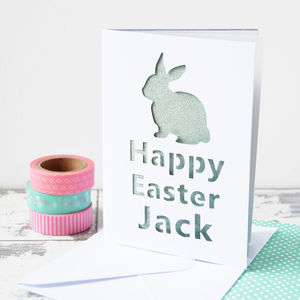 Personalised Rabbit Glitter Cut Out Card - shop by category