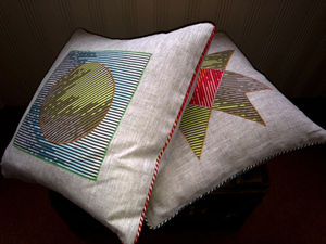 Limited Addition Appilque Linen Cushions - cushions