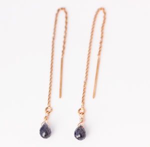 Iolite And Rose Gold Filled Threader Earrings - earrings