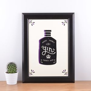 'Where There's Gin There's Hope' A4 Art Print