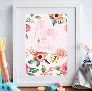 Personalised Children's Watercolour Effect Wall Print - flower girl gifts