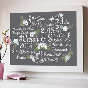 Personalised Floral Wedding And Anniversary Print - giclée