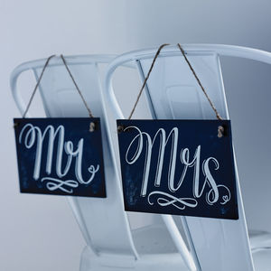 'Mr' And 'Mrs' Chalkboard Style Wedding Signs - table decorations