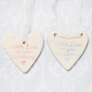 Baby Girl Or Boy Christening Ceramic Hanging Heart