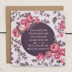 Floral Maid Of Honour Invitation Card