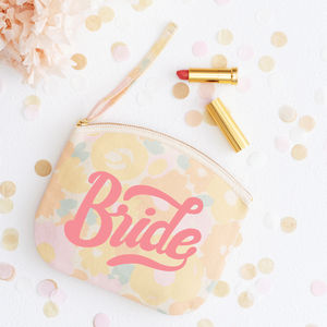 'Bride' Floral Canvas Pouch - the morning of the big day