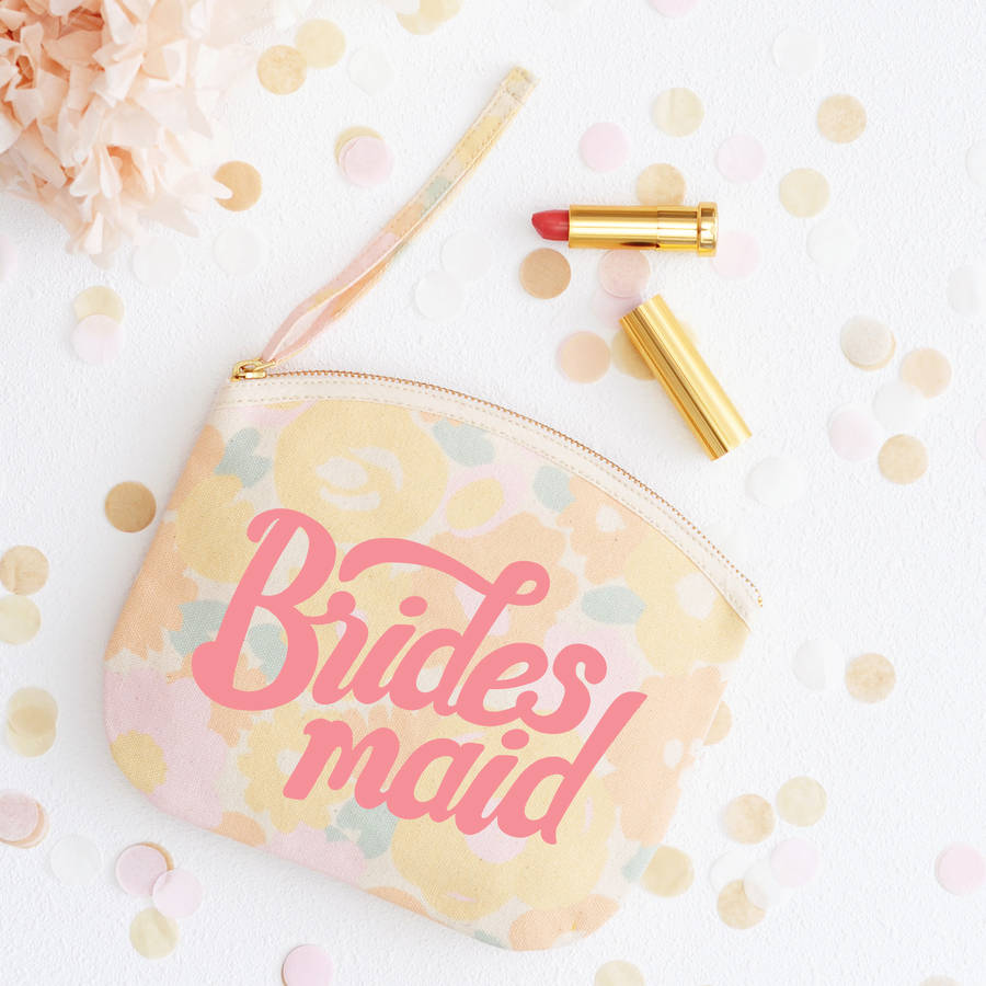 'Bridesmaid' Floral Canvas Pouch