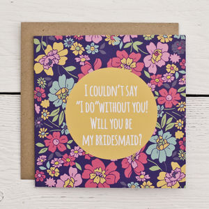 Kitsch Floral Bridesmaid Invitation Card - wedding cards & wrap