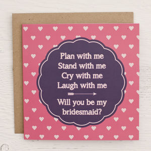 Heart Patterned Bridesmaid Invitation Card - wedding, engagement & anniversary cards